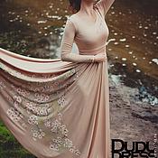 Платье в пол с росписью