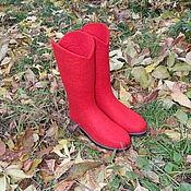 Обувь ручной работы. Ярмарка Мастеров - ручная работа Красные валенки. Handmade.