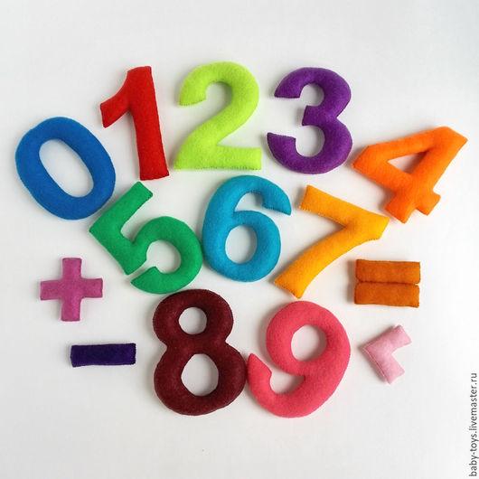 Развивающие игрушки ручной работы. Ярмарка Мастеров - ручная работа. Купить Цифры из фетра на магнитах для малышей. Набор цифр для счета.. Handmade.