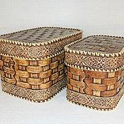 Короб ручной работы. Ярмарка Мастеров - ручная работа Набор из двух плетеных коробов. Короб для хранения. Handmade.