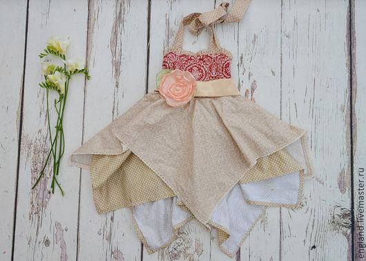 Одежда для девочек, ручной работы. Ярмарка Мастеров - ручная работа. Купить Платье сарафан для девочки винтаж бежевый красный Хлопок. Handmade.