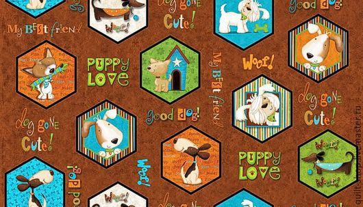 """Шитье ручной работы. Ярмарка Мастеров - ручная работа. Купить Хлопок """"Puppy Love"""". Handmade. Хлопок 100%, ткань для пэчворка"""