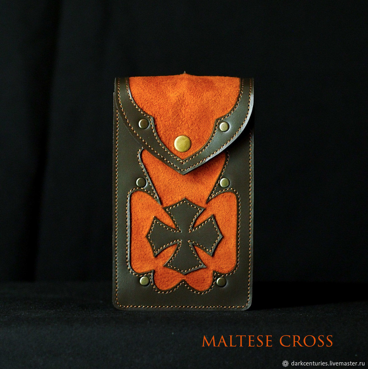 Brown Leather tarot case -/- gothic style -/- Maltese cross, Card case, St. Petersburg,  Фото №1