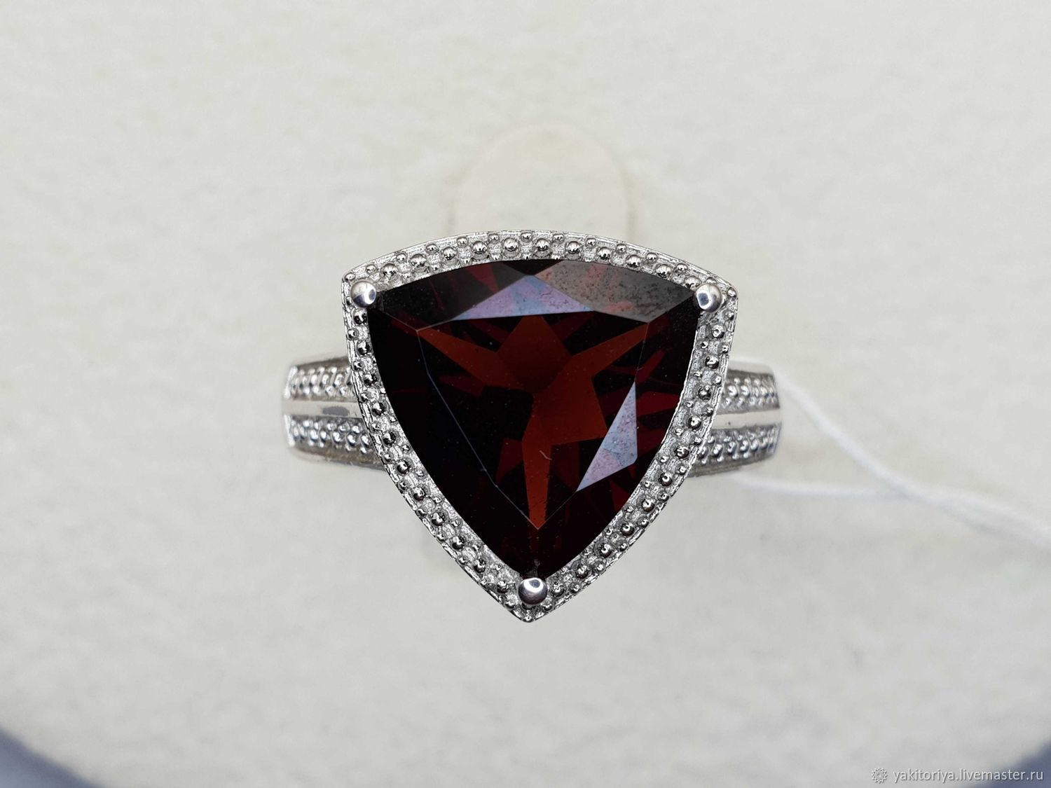 Silver ring with garnet 12h12 mm, Rings, Moscow,  Фото №1