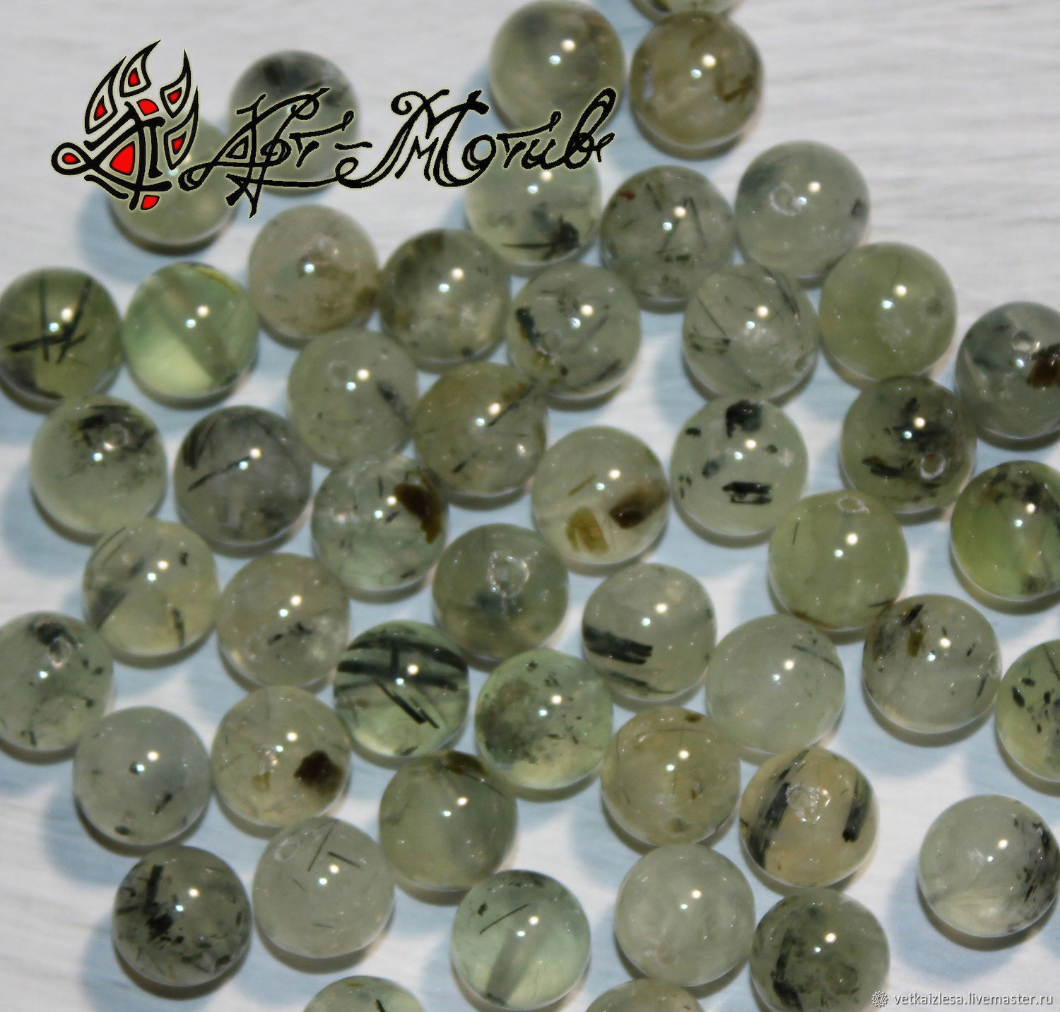 Prehnite, sterling silver beads 8 mm (natural stone), Beads1, Moscow, Фото №1