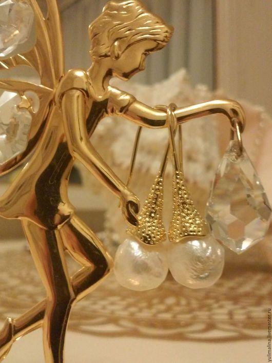 Серьги ручной работы. Ярмарка Мастеров - ручная работа. Купить Серьги Касуми в Золотом. Handmade. Белый, серьги с жемчугом касуми
