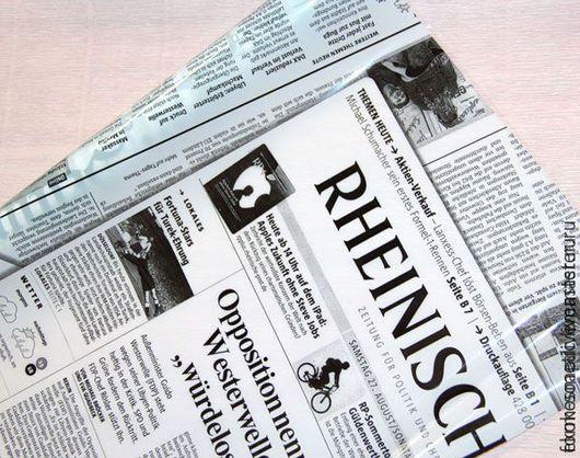 Упаковка ручной работы. Ярмарка Мастеров - ручная работа. Купить Плёнка для упаковки с рисунком Газета. Handmade. Белый, купить плёнку