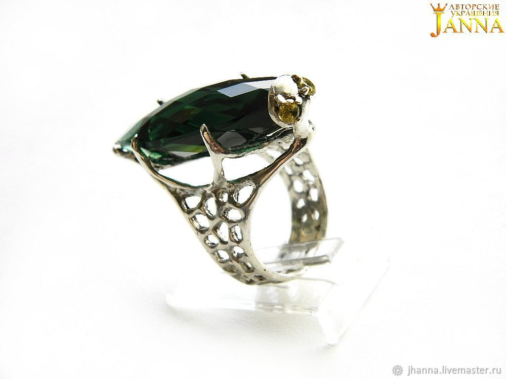 Quartz. ' Green grasshopper ' ring with green quartz, Rings, Volgograd,  Фото №1