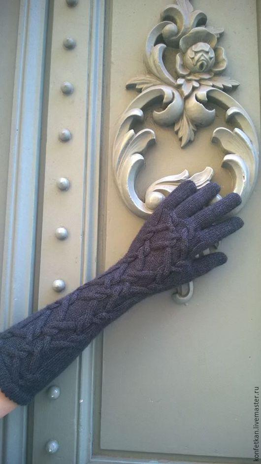 перчатки длинные, перчатки вязаные, перчатки женские, арановые узоры, араны, купить перчатки, шерстяные перчатки
