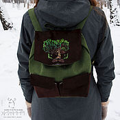 Сумки и аксессуары handmade. Livemaster - original item Backpack Brokilon coin - leather,linen,green,brown. Handmade.