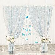 Свадебное оформление зала, бело-голубая свадьба с бабочками