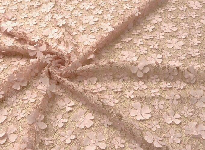 ткань кружевное полотно  корд розовое  3D, Ткани, Москва,  Фото №1
