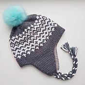 Аксессуары handmade. Livemaster - original item Hugge hat woolen earflaps on fleece with a pompom for outdoor activities. Handmade.