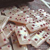 Сувениры и подарки ручной работы. Ярмарка Мастеров - ручная работа Домино - настольная игра из стекла кремовая, фьюзинг. Handmade.