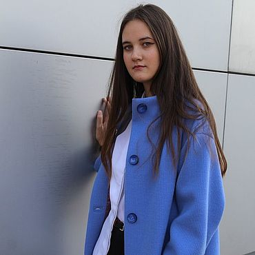 Одежда ручной работы. Ярмарка Мастеров - ручная работа Синее демисезонное пальто с поясом. Handmade.