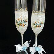 Свадебный салон handmade. Livemaster - original item Wedding glasses, Lace,. Handmade.