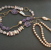 Украшения handmade. Livemaster - original item With pendant FANCY pearl Baroque, amethyst, rose.quartz. Handmade.