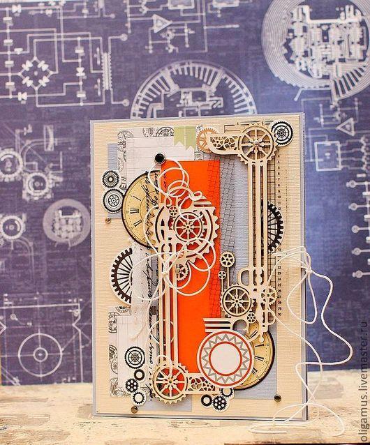 """Открытки для мужчин, ручной работы. Ярмарка Мастеров - ручная работа. Купить Мужская открытка """"Мануфактурщики"""". Handmade. Открытка ручной работы"""