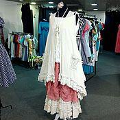 Одежда ручной работы. Ярмарка Мастеров - ручная работа Юбка бохо,розовая,лён. Handmade.