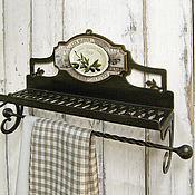 Для дома и интерьера ручной работы. Ярмарка Мастеров - ручная работа Полочка с держателем для рулонного и текстильного полотенца Олива. Handmade.