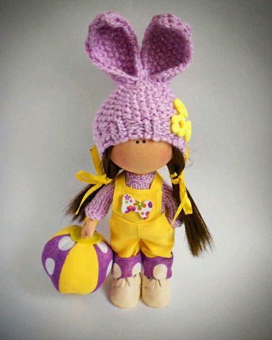 Куклы тыквоголовки ручной работы. Ярмарка Мастеров - ручная работа. Купить Текстильная кукла- малышка. Лило. Handmade. Бледно-сиреневый