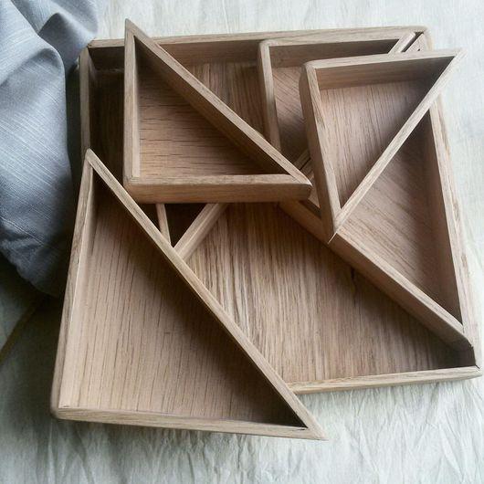 Сервизы, чайные пары ручной работы. Ярмарка Мастеров - ручная работа. Купить Комплект подносов «Суаре» (квадрат), натуральный дуб. Handmade.