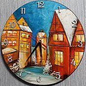 Для дома и интерьера ручной работы. Ярмарка Мастеров - ручная работа Часы Зимний город. Handmade.