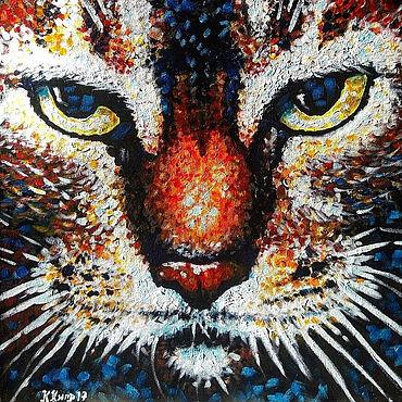 Картины и панно ручной работы. Ярмарка Мастеров - ручная работа Большая картина с котом. Рыжий кот картина. Кот на картине.. Handmade.