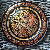 Русский стиль handmade. Livemaster - original item A plate of wood with Khokhloma painting Bird of Happiness. Handmade.