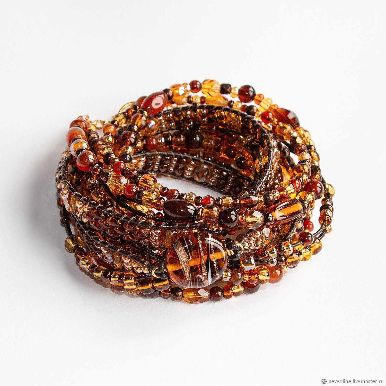 Boho style bracelet Amber Bracelet-winding Volumetric bracelet, Bead bracelet, Ekaterinburg,  Фото №1