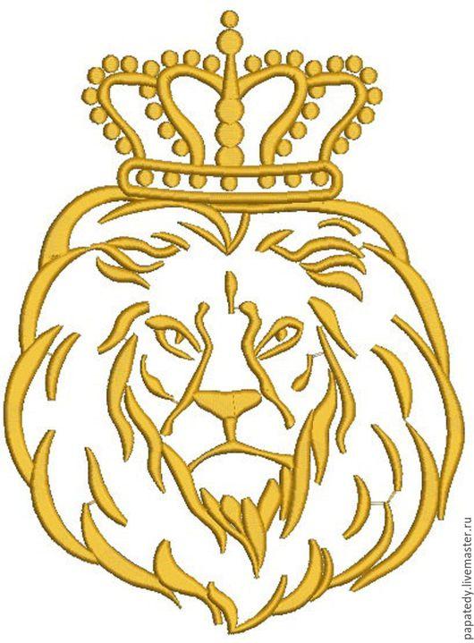 Иллюстрации ручной работы. Ярмарка Мастеров - ручная работа. Купить лев в короне королевской дизайн машинной вышивки. Handmade.