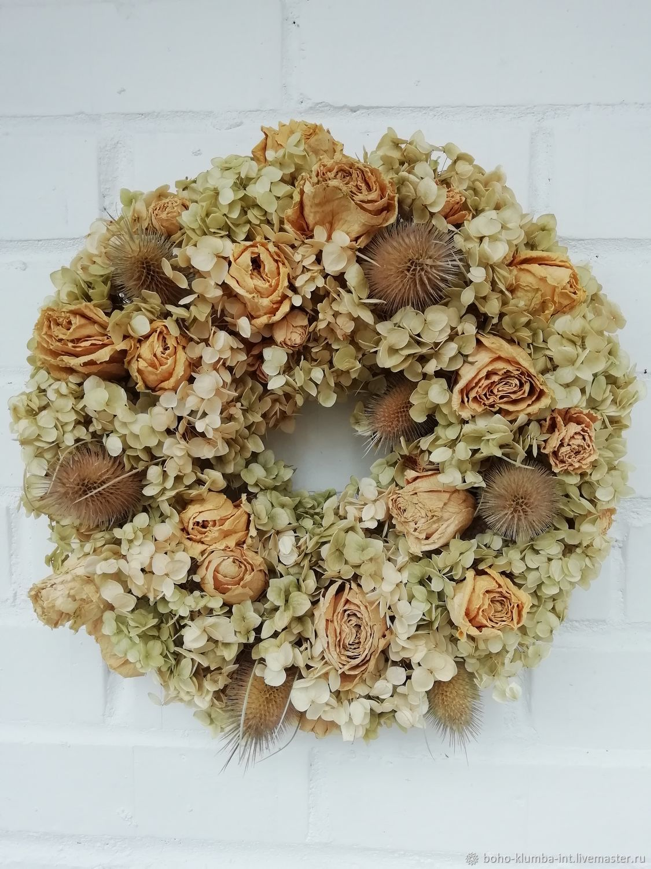 """""""Шипы и розы"""" венок из сухоцветов, Интерьерные венки, Балашиха,  Фото №1"""