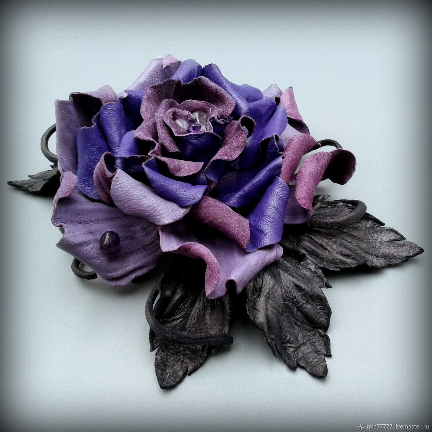 brooches: Brooch made of genuine leather and amethyst AMETHYST DEW, Brooches, Stavropol,  Фото №1