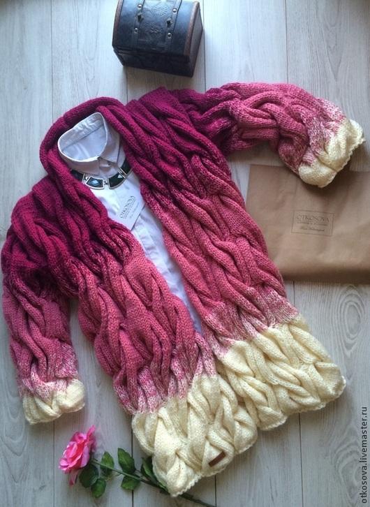"""Кофты и свитера ручной работы. Ярмарка Мастеров - ручная работа. Купить Кардиган """"Косы"""". Handmade. Разноцветный, полушерстяная пряжа"""