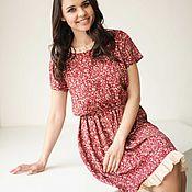 """Одежда ручной работы. Ярмарка Мастеров - ручная работа """"Брусничная карамель"""". Бордовое летнее платье в мелкий цветочек. Handmade."""