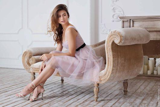 """Платья ручной работы. Ярмарка Мастеров - ручная работа. Купить Платье """"Парфюм"""". Handmade. Бледно-розовый, платье коктейльное"""