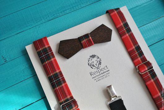 Галстуки, бабочки ручной работы. Ярмарка Мастеров - ручная работа. Купить Деревянная бабочка + подтяжки в шотландскую клетку. Handmade.