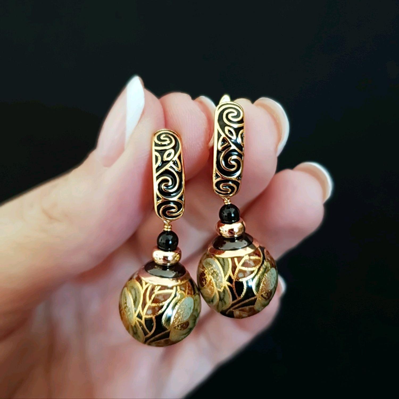'Pattern gold' earrings with beads tensha, Earrings, Krasnodar,  Фото №1