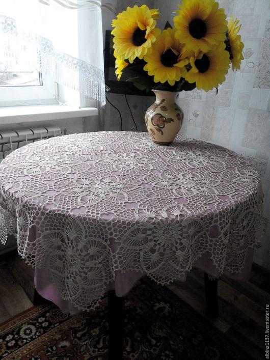 Текстиль, ковры ручной работы. Ярмарка Мастеров - ручная работа. Купить Скатерть на круглый стол. Handmade. Бежевый, на праздник