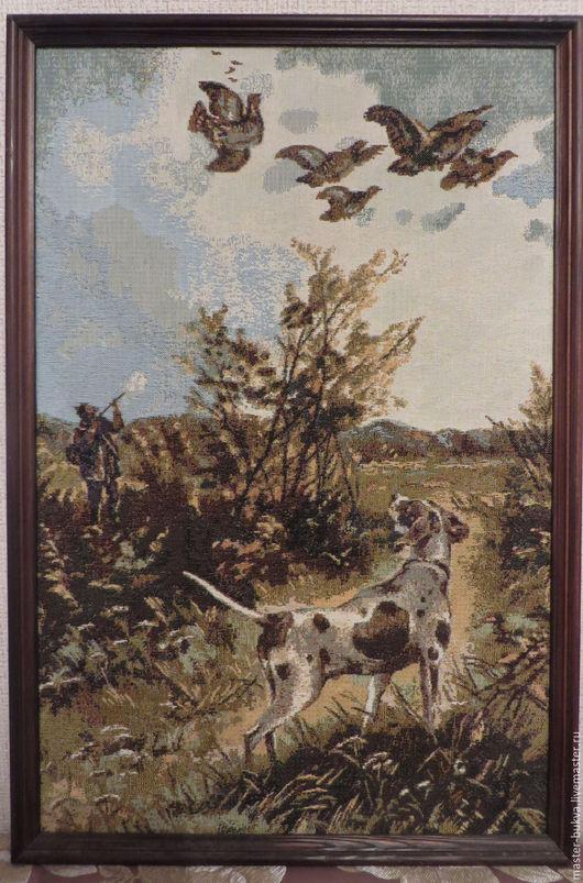 Пейзаж ручной работы. Ярмарка Мастеров - ручная работа. Купить Гобелен ОХОТА, картина гобелен. Handmade. Хаки, охота, птицы