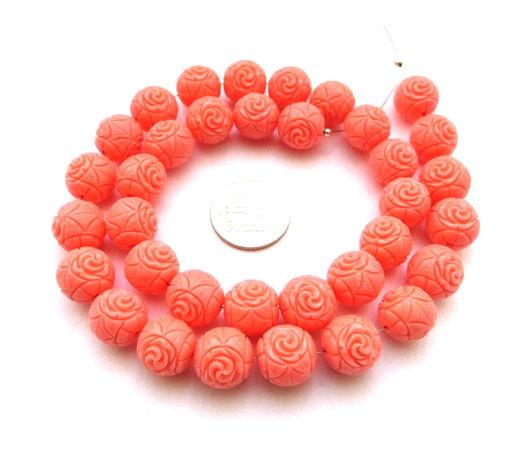 Для украшений ручной работы. Ярмарка Мастеров - ручная работа. Купить Коралл 35 бусин розовый набор резной,  розочки,  12 мм. Handmade.