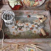 """Для дома и интерьера ручной работы. Ярмарка Мастеров - ручная работа """"Белые ромашки"""" - поднос. Handmade."""