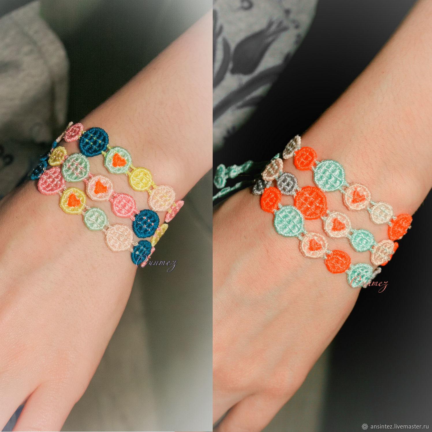 3 sets of lace bracelets funny pixels decoration, Bracelet set, Moscow,  Фото №1