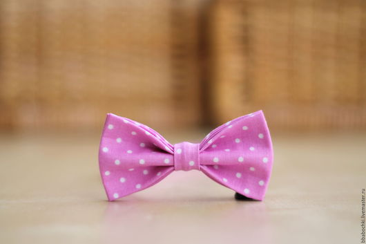Галстуки, бабочки ручной работы. Ярмарка Мастеров - ручная работа. Купить Бабочка розовая в мелкий горошек детская/взрослая. Handmade. Розовый