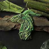 Украшения ручной работы. Ярмарка Мастеров - ручная работа Брошь зеленый лесной дракон. Handmade.