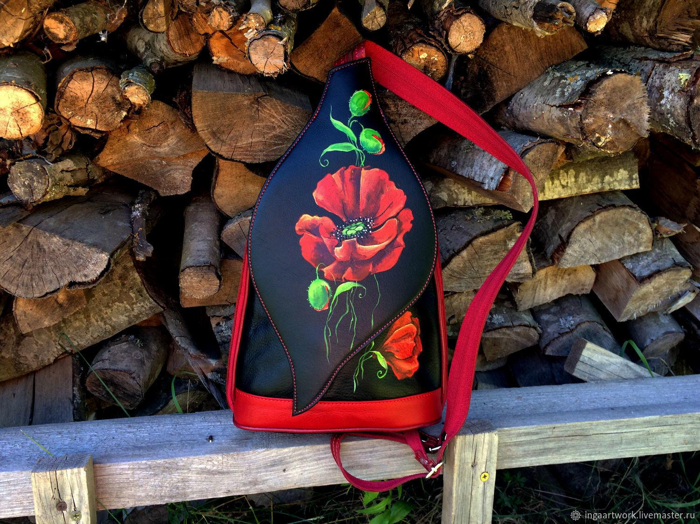 """Черный pюкзак - сумка из кожи с росписью """" Маковый """", Backpacks, Trakai,  Фото №1"""