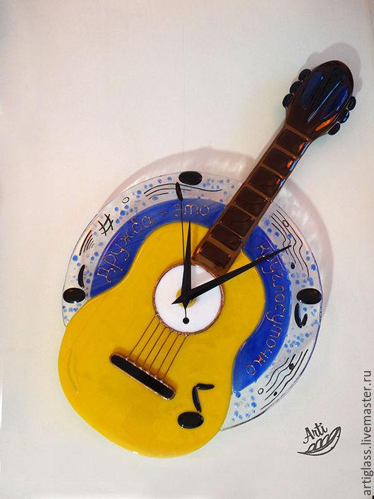 Часы для дома ручной работы. Ярмарка Мастеров - ручная работа. Купить Часы Изгиб гитары желтой. Handmade. Желтый