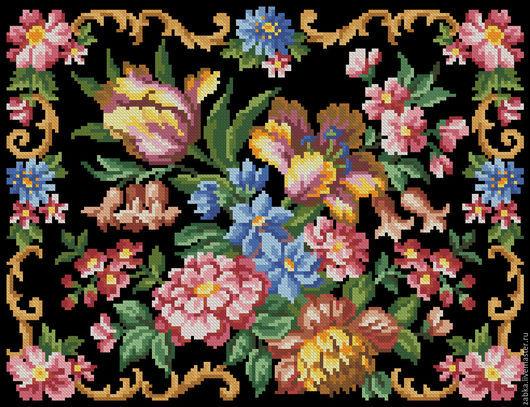 Вышивка ручной работы. Ярмарка Мастеров - ручная работа. Купить Букет с тюльпанами (дизайн для сумочки или подушки). Handmade. Комбинированный