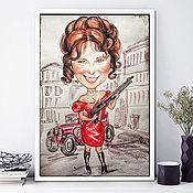 Сувениры и подарки handmade. Livemaster - original item Friendly cartoon in the style of Chicago, watercolor cartoon. Handmade.