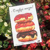 Открытки handmade. Livemaster - original item Bard card with donuts